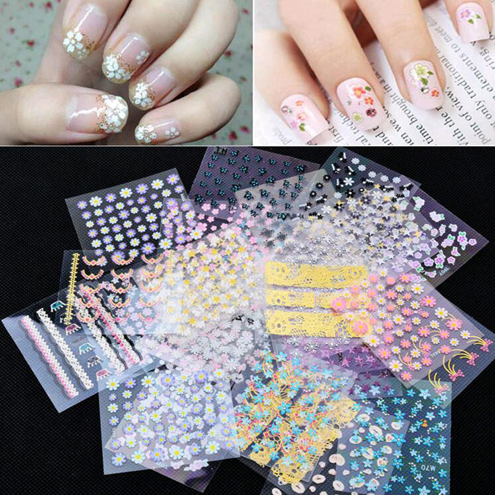New Fashion 10 sheets Mix color 3D Floral Design Nail Art Stickers Decals decoration beautiful manicure fashion accessories(China (Mainland))