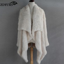 ZDFURS * New Genuine Rabbit Fur Coat Fashion Women knit Rabbit Fur Jacket Winter Warm Rabbit Fur Outwear ZDKR-165003(China (Mainland))