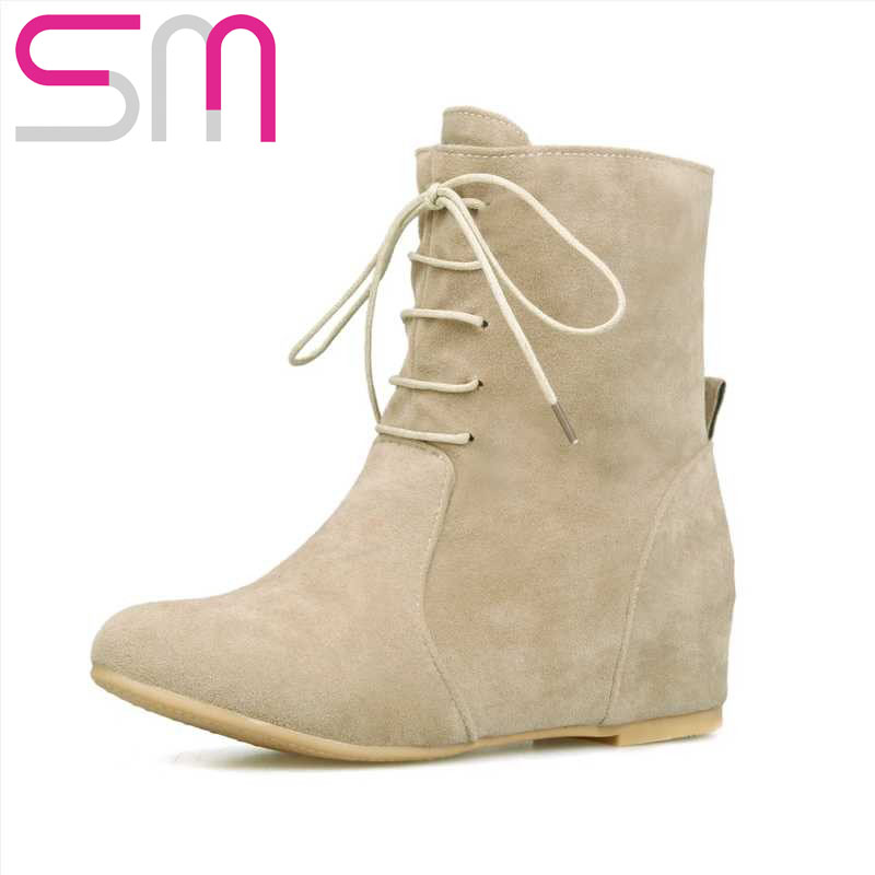 2015 Fashion Women Flock Lace up Ankle Boots Brand Hidden Wedges Short Boots Spring Autumn Shoes Woman Round toe Martin Boots