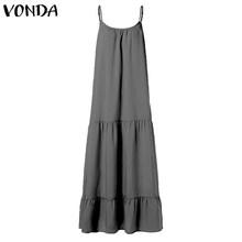 VONDA femmes bohème longue robe Maxi 2019 été Sexy sans manches Spaghetti sangle à volants balançoires robes vacances Vestido grande taille(China)