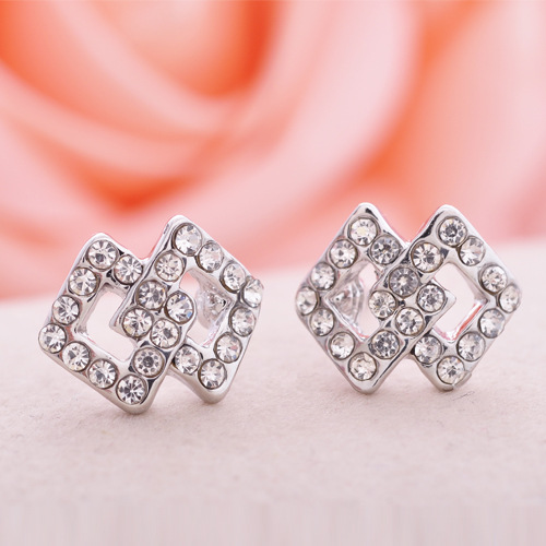 2016 alloy jewelry wholesale Korean fashion small crystal stud over square Valentines Day earring(China (Mainland))