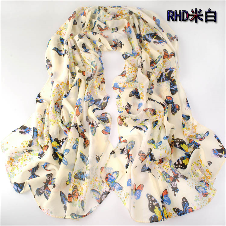 2016 new arrival high quality hot selling fashion butterfly printed chiffon long size 160*70cm scarf,summer sunscreen shawl(China (Mainland))