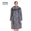 YCFUR 2016 Winter Fur Coats Women Luxury Natural Silver Fox Fur Jackets With Fox Fur Collar