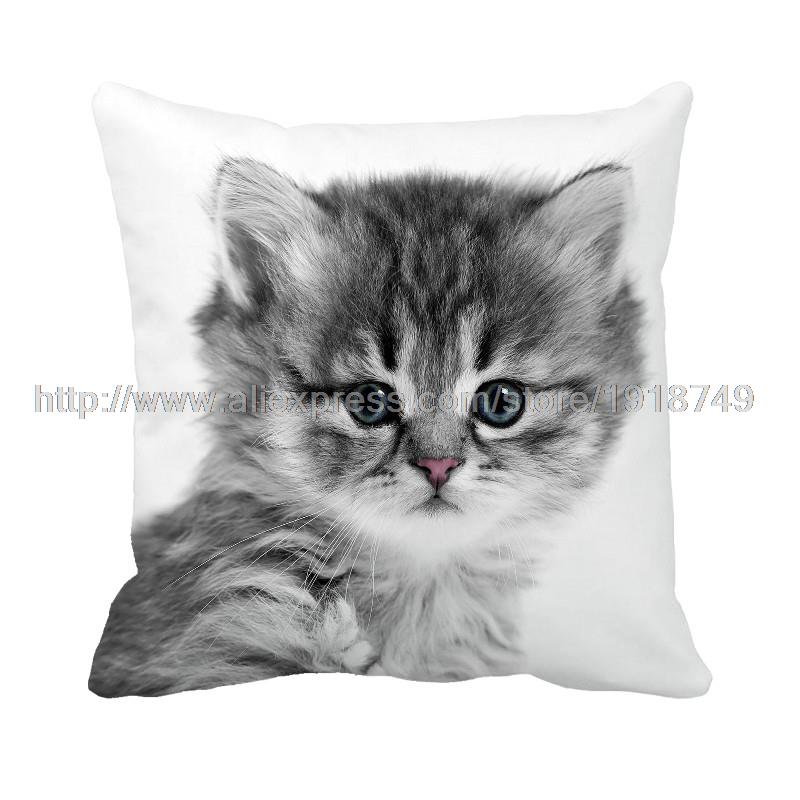 cute grey cat printed white cushion covers square animal decorative throw pillowcase set for home and