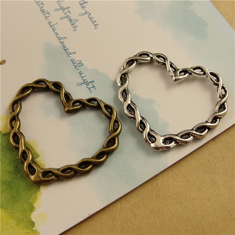 A3517 Wholesale Bracelet Antique Bronze AND Silver Love Heart Charms DIY Craft Fit Jewelry Making(China (Mainland))