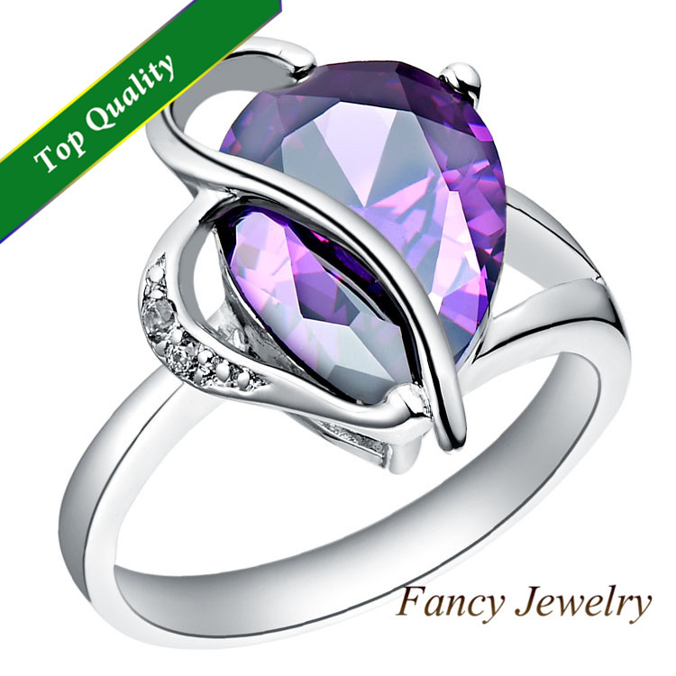 Zirconia Russia 2014 Fashion White Gold Vintage Amethyst Ruby Simulated Diamond Purple Rings anillos para mujer