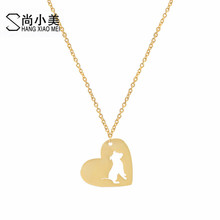 Buy Statement Stainless steel Gold Color Pit Bull Love Heart Choker Necklace Chain Dog Pet Puppy Rescue Animal Women Pendant for $1.88 in AliExpress store