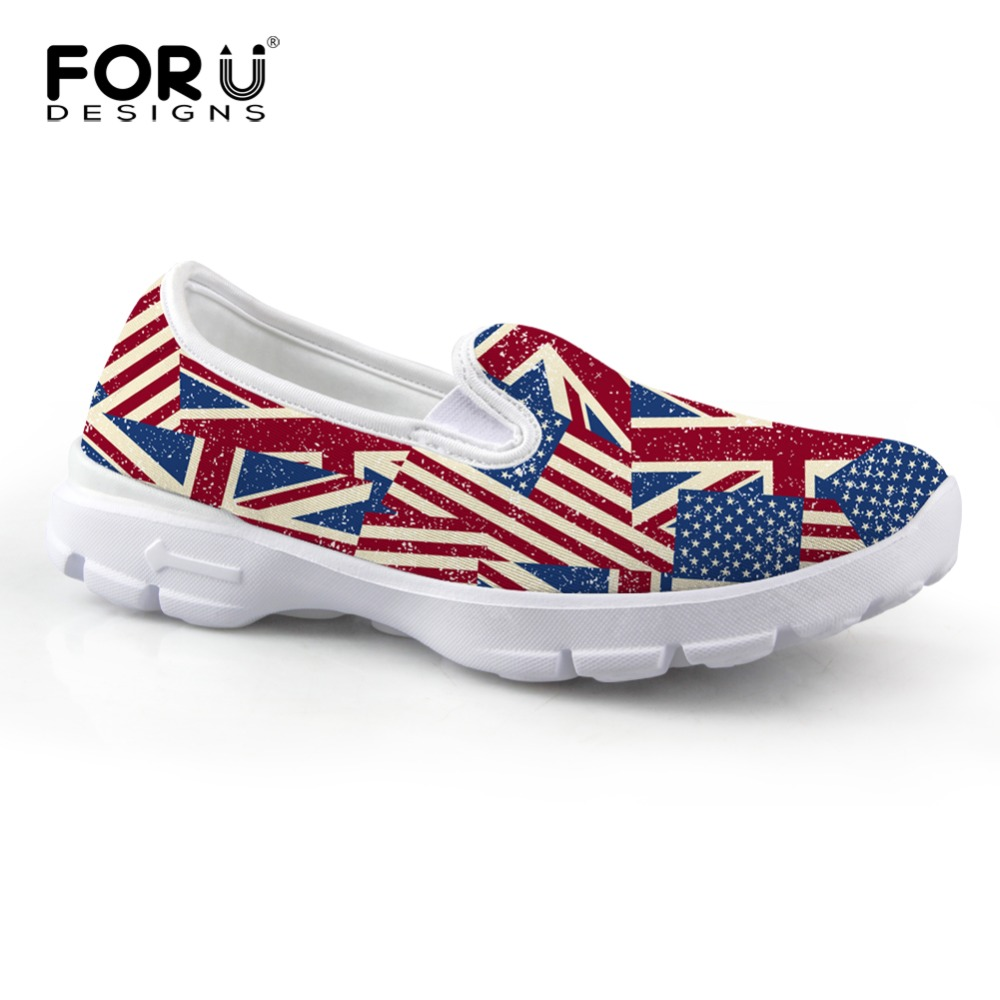 Brand Women Shoes Fashion UK USA Flag Printing Loafers Breathable Ladies Boat Shoes Slip-on Flat Walking Shoes Chaussure Femme(China (Mainland))