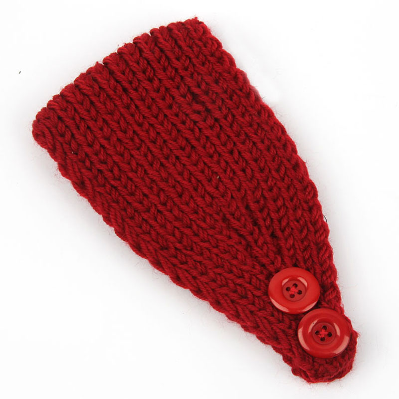 12pcs/pack Solid Colors Basic Style Crochet Women Winter Headbands Knit Headwraps Headbands Ear Warmer with Two Buttons(China (Mainland))