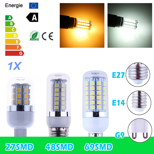 1X Hot Sale GU10 E27 E 14 G9 B22 9W 12W 15W SMD 69led 5050 led corn bulb lamp Warm white / white led lighting Free Shipping(China (Mainland))