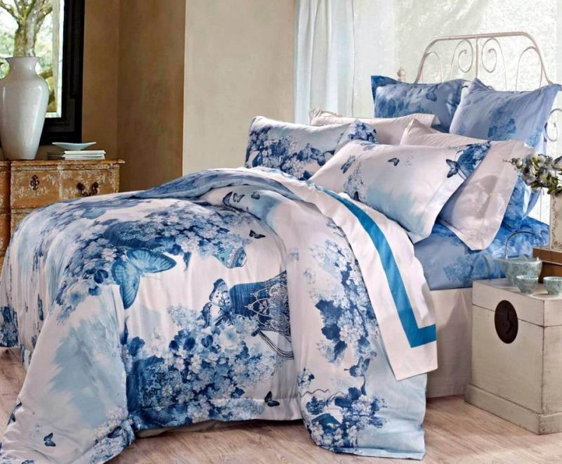 Blue egyptian cotton butterfly luxury bedding comforter for Luxury cotton comforter sets
