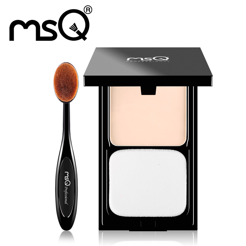 MSQ Makeup Set Pressed Powder Contour Foundation Palette With Puff Pro Wet or Dry Use For Face+Foundation Tooth Makeup Brush