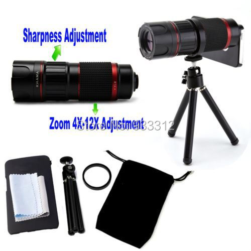 4-12x Zoom Magnification 4X Micro 12X Telescope Objective SLR+Cover Case+Camera Tripod For Samsung Note 3/NOTE 4/S5/S6 Edge