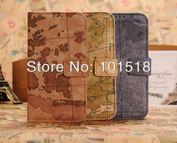 50pcs/lot Free shipping Map wallet Leather case for Samsung Galaxy s4 SIIII i9500 ,with credit