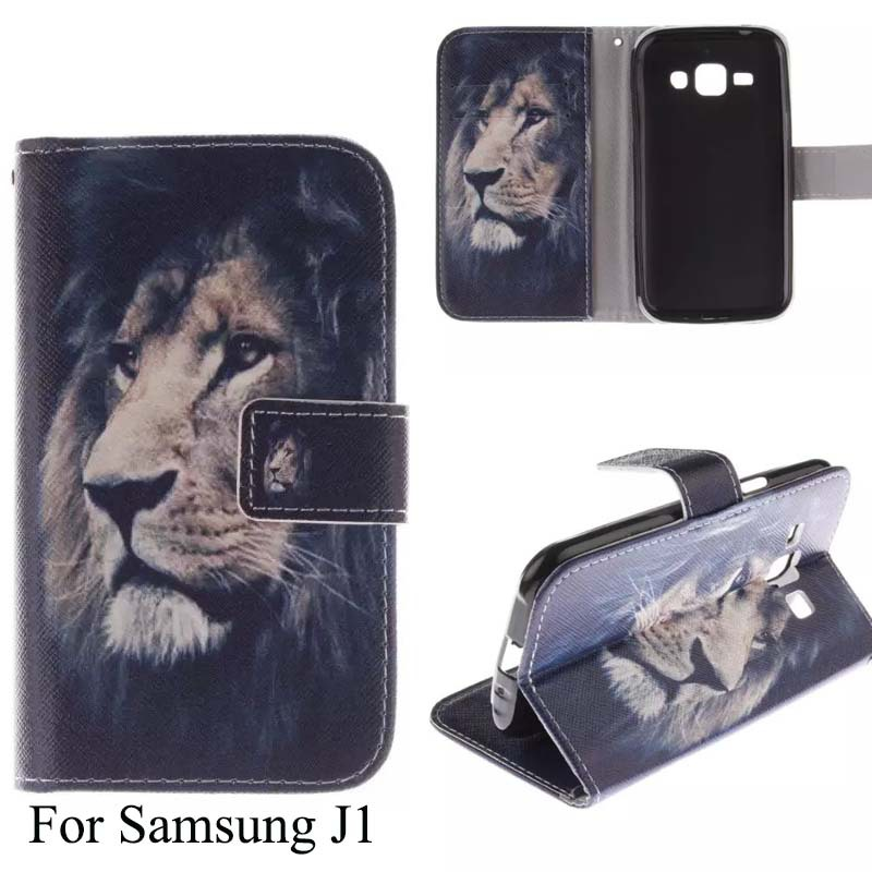 J1 Tiger Lion Owl Flower Sexy Girl Words Color Printing 10 Design Mobile Phone Case For Samsung J1 With Wallet Card Slot(China (Mainland))