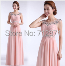 ready to ship in stock wholesale price scoop pink Prom Dresses long ...