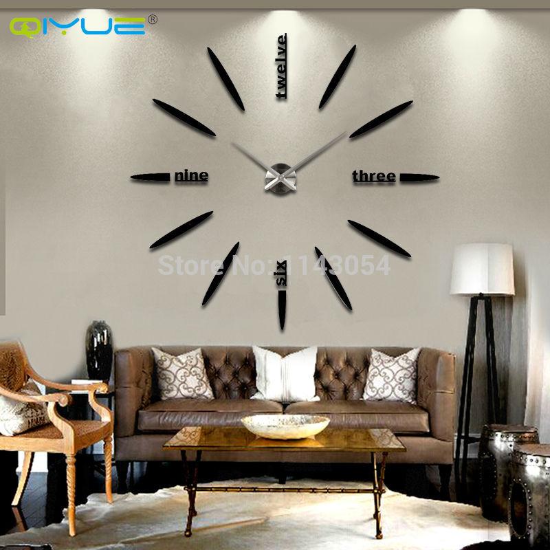 2016 new home decor wall clock European oversized living room modern minimalist fashion DIY Wall Art bell clock divergence(China (Mainland))