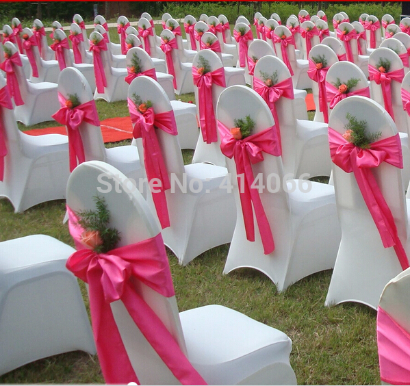 Free shipping high quality satin sash(12pcs/lot)/chair bow for cover chair spandex/party and wedding decoration(China (Mainland))