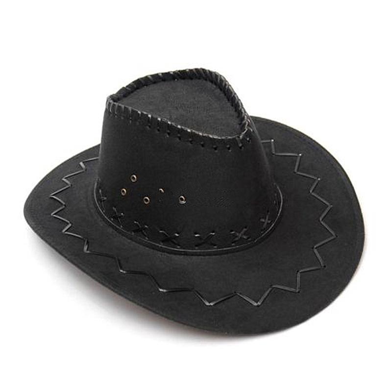 New Fashion Cowboy Hat Suede Look Wild West Fancy Dress Men Ladies Unisex Hats Black(China (Mainland))
