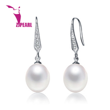 ZJPEARL ANGEL TEARS Natural Pearl Earrings Cultured Freshwater Pearls with 925 Silver ,Earring 2016 new(China (Mainland))