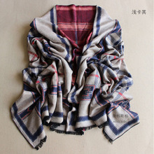 2016 Korean version of the fall and winter Tartan Ms. England retro plaid jacquard thick warm cashmere wool scarf long section