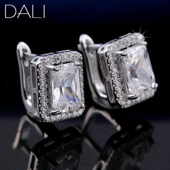 1.8 ct Rectangle Cubic Zirconia 925 Silver Earring Stud For Женщины Best Christmas ...