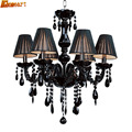 Hghomeart Quality European Indoor Luxury Crystal Chandeliers Led E14 Suspension Fashion Black Crystal Chandelier 3 Lights