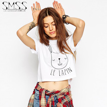 SMSS 2015 European New Fashion Womens Loose T Shirt Le Lapin Bunny Crop Top Cute Bunny Printing Bare Midriff Top For Women