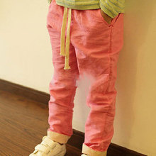 2015 New Children Linen Candy Color Pants Big Boys & Girls Summer Cotton Breathable Hemp Trousers Kids Drawstring Joggers, YC057(China (Mainland))