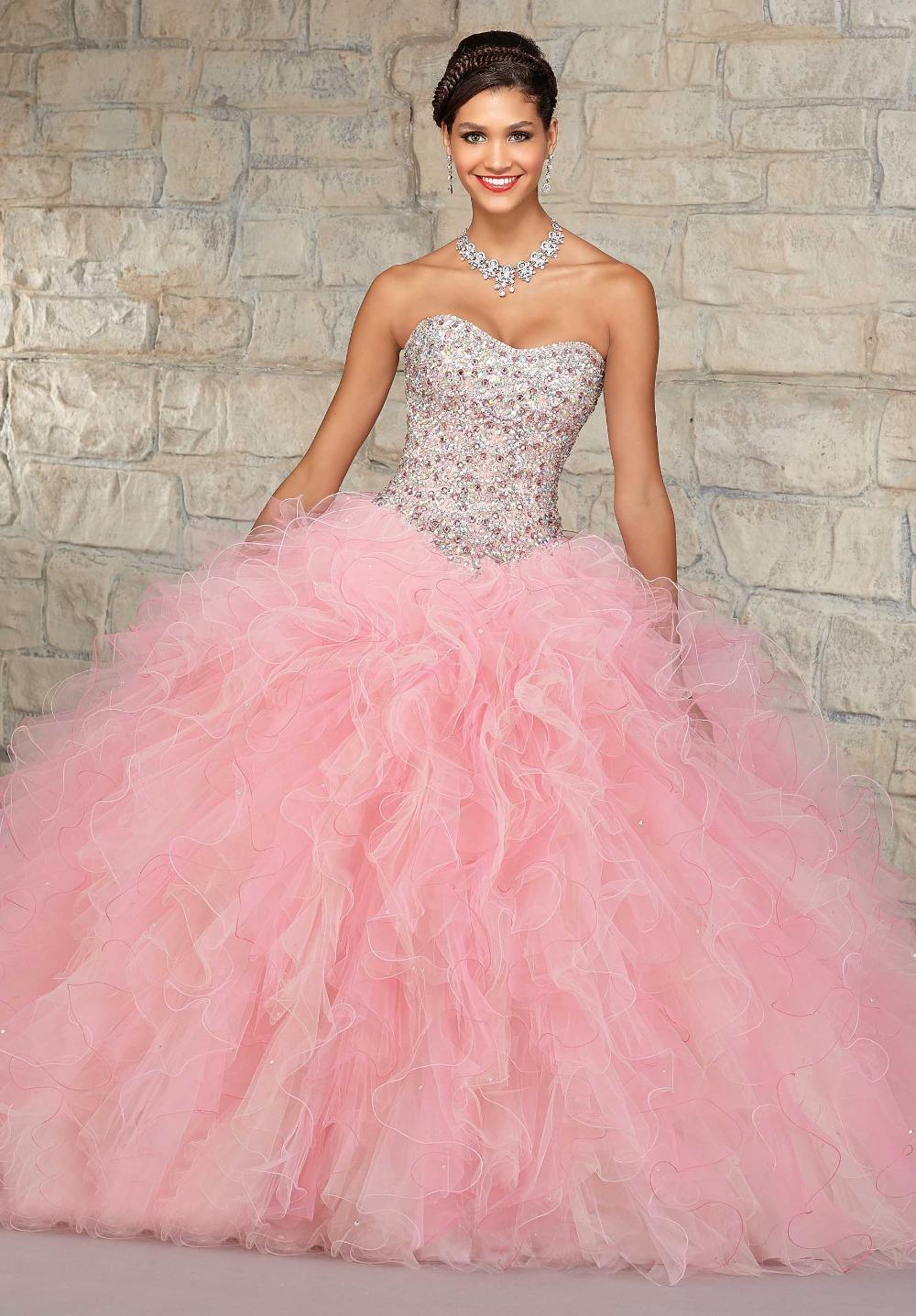Elegant Strapless Beads Crystals Organza Puffy Light Pink ...