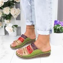 PUIMENTIUA nouveau été femmes sandales 3 couleurs couture sandales dames bout ouvert chaussures décontractées plate-forme cale diapositives chaussures de plage(China)