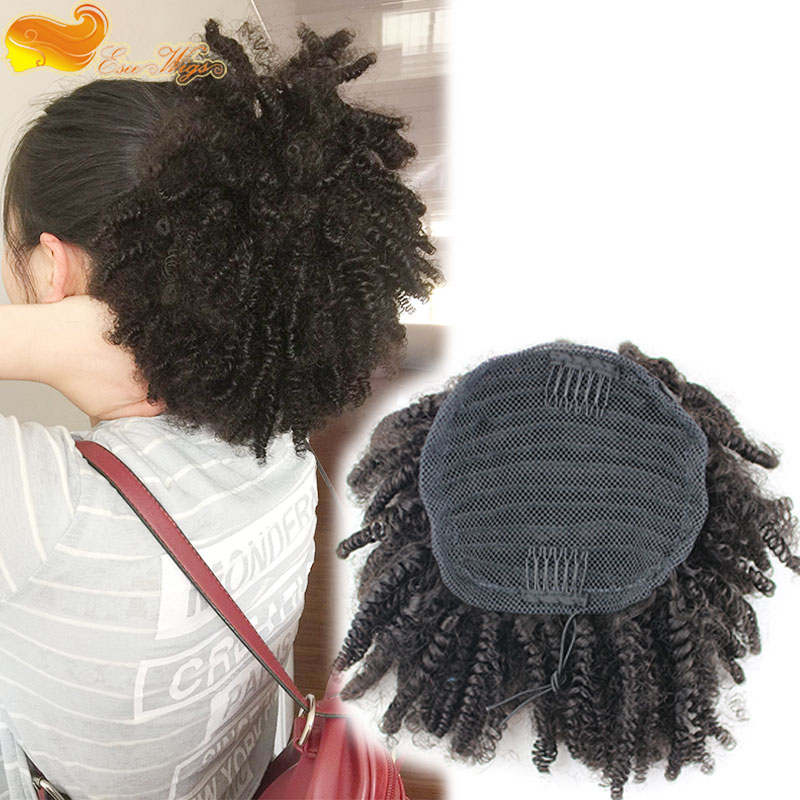 2017 new style 100 Human Hair Ponytails 7A Brazilian Virgin Hair afro kinky curly Ponytail Hair Extension With Combs