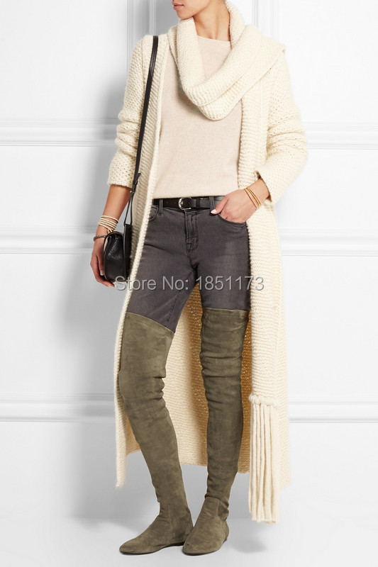 Cheap Sale Stretch Thigh High Flats Boots Suede Slim Women Motorcycle Boots Over the knee Autumn Winter Sexy Boots Shoes