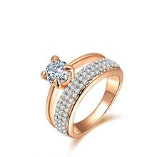 Anneaux de mode plaqué or, Anillos, Anneaux de mariage, Cristal autrichien de l'environnement Micro - inséré bijoux R150290250R(China (Mainland))