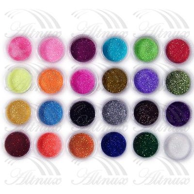 Free Shipping 24 pcs Colors Sparkle Bright Glitter Powder Dust Acrylic UV Gel Nail Art Sets 2015 New Arrival Promotion(China (Mainland))