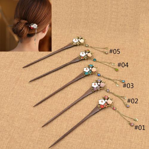 Fashion Handmade Rose Hair Stick Vintage Chinese Natural Wood Women Clip Hair Stick Rhinestone Antique Hair AccessoryОдежда и ак�е��уары<br><br><br>Aliexpress