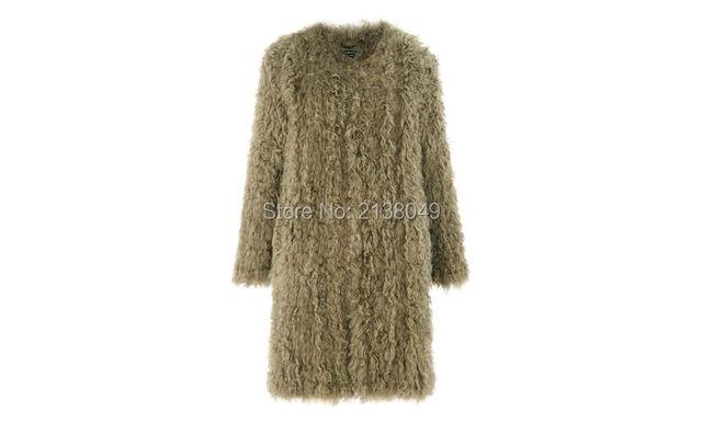 FC02901 Дешевые продать 100% натуральный мех трикотажные пальто женщин Шерсти Овечки Пальто