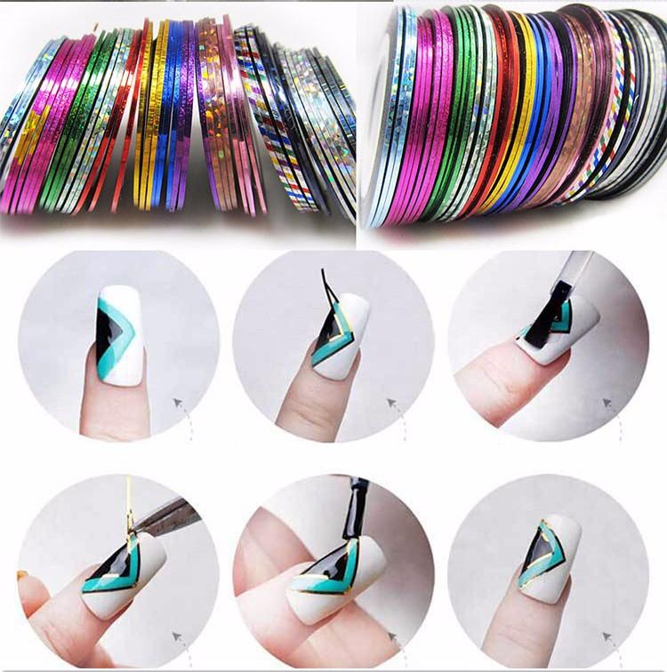 2016 New 10Pcs/lot Mixed Colors Nail Rolls Striping Tape Line DIY Cosmetics Nail Art Tips Decoration Sticker Beauty Nails Care