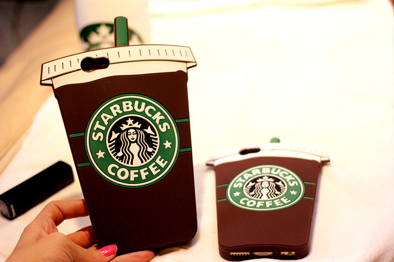 Hot Sale 3D Cartoon Silicon Starbuck Coffee Cup Case Cover for Apple iPhone 4 4s 5 5s SE 6 6S 6 Plus Mobile Phones Free shipping