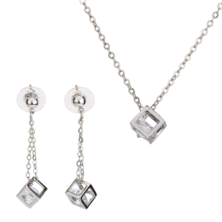 2015 hot sale square rhinestones crystal jewelry classic necklace sets girls gift T1459(China (Mainland))