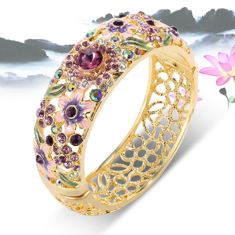Chinese Style Retro Crystal Bracelet Women/Girl/Lady Colorful Flower Jewelry> Bracelets & Bangles Bling Glittering Fashion - GT-Watch Store store