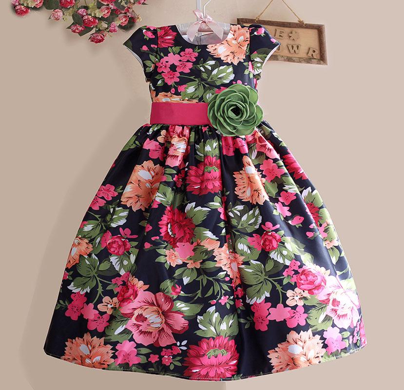 Top quality print girls christmas dress kids flower dresses princess