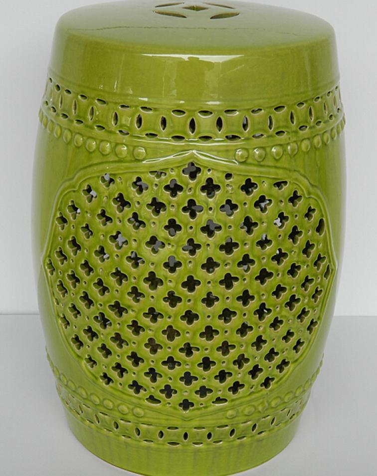 ceramic green color glazed garden stool ceramic stool