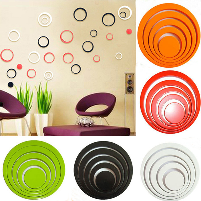 1 Set Indoors Wall Stickers bathroom home Decoration Circles Creative Stereo Removable 3D DIY Wall Stickers(China (Mainland))