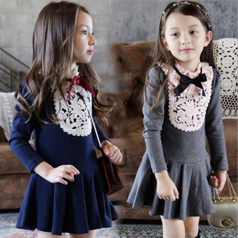 2016 Girls clothes Autumn/winter girls lace dress korea style children clothing baby girls school dress Toddler girls dresses(China (Mainland))