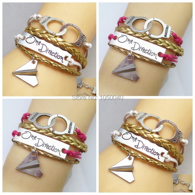 2015 New Styles Braid Friends Freedom One Direction Charm Leather Bracelet Friendship Gift Jewelry Making(China (Mainland))
