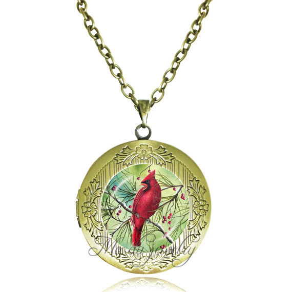 Women men necklace red parrot locket necklace branch jewelry glass pendant necklace bird pendant animal jewellery wholesale(China (Mainland))