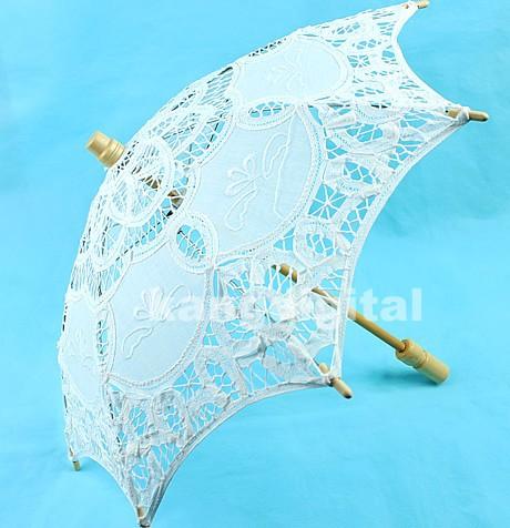 White Lace Parasol Umbrella Bridal Wedding Umbrella for Decoration(China (Mainland))
