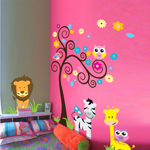 Owl Lion Wall Stickers Kids Animals Nursery Tree Vinyls Children Room Decoration Home Wall Paper Decal deco Art Mural Sticker(China (Mainland))