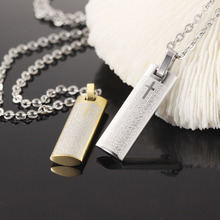OPK Spanish Holy Bible Cross Pendant Classical Silver Gold Stainless Steel Link Chain Necklaces Religious Men